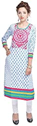 Geroo Women's Cotton Regular Fit Kurta (MKK-1533AZ, Off-White, L)