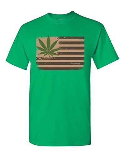 Pot-Leaf-USA-Flag-T-shirt-Marijuana-420-Shirts-Small-Irish-Green-XIT-12967