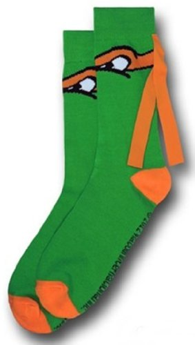 Teenage Mutant Ninja Turtles TMNT Michelangelo ORANGE MASK CREW SOCKS
