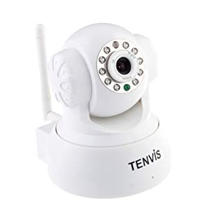 TENVIS Wireless IP Pan/Tilt/ Night Vision Internet Surveillance Camera Built-in Microphone With Phone remote monitoring support(White)