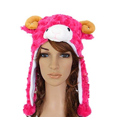 TopTie Weichtier Hut mit Ohrenklappen, Pelztier Hood Cap - rosarot Sheep