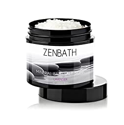 LAVENDER BATH SALTS by ZenBath® - Premium quality based in Pure Vitamin E Oil & Lavender Essential Oil - 100% Mediterranean Dead Sea Salt ☆ High Absorption and Potency - For Ultimate Relaxation, Stress & Anxiety Relief, Ache/Pain/Tension Relief & Sooth