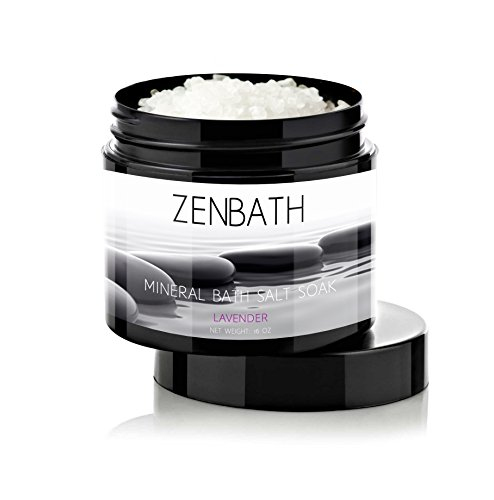 LAVENDER BATH SALTS by ZenBath® - Premium quality based in Pure Vitamin E Oil & Lavender Essential Oil - 100% Mediterranean Dead Sea Salt ☆ High Absorption and Potency - For Ultimate Relaxation, Stress & Anxiety Relief, Ache/Pain/Tension Relief & Soothing Skin Care - Spa in a Jar!