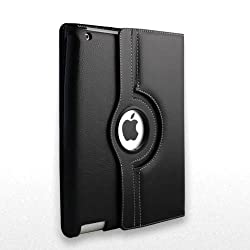 Black PU Leather 360 Degree Rotating Stand Case Cover for IPAD 2 AND IPAD 3 With Wake and sleep function