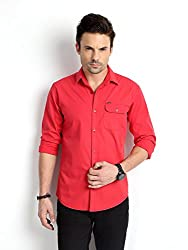 RODID Men's Cotton Printed Casual Shirt Tomato Red_RS18C0TR-M