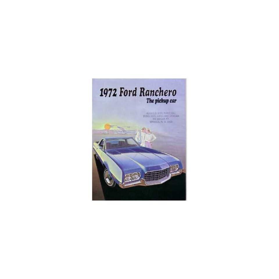 1972 Ford Ranchero Sales Brochure Literature Book Piece Advertisement Options