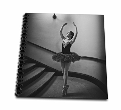 KIKE CALVO World of Dances - Black and White classic ballerina on staircase - Memory Book 12 x 12 inch (db_216073_2)