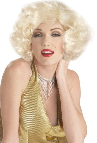 Halloween Costume Women's Blonde Curly Marilyn Wig Theme Party Outfit