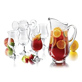 sangria pitcher set with six glasses