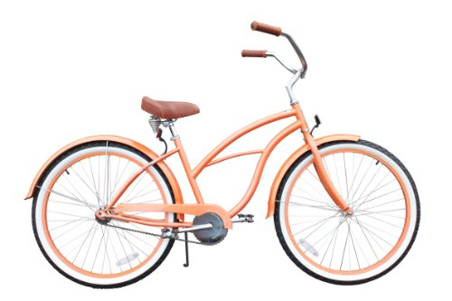 "sixthreezero Women's Dreamcycle 26"" single speed (1sp) cruiser bicycle - orange"