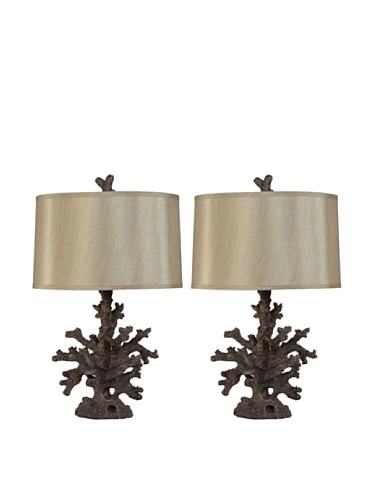 Murray Feiss Set of 2 Bronze Coral Table Lamps