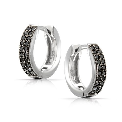 Bling Jewelry Unisex Micro Pave Black Onyx Color CZ Huggie Hoop Earrings 925 Silver