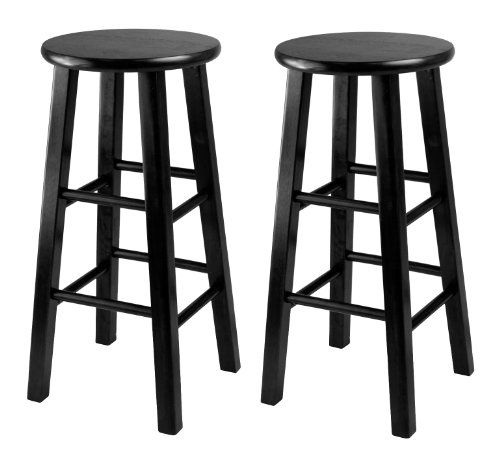 Winsome 24-Inch Square Leg Counter Stool, Black, Set of 2 (Black Wood Bar Stools compare prices)