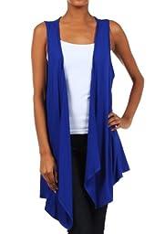 Modern Kiwi Open Asymmetrical Hem Vest Royal Blue One Size