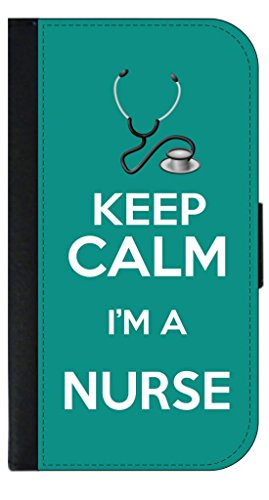 Keep-Calm-Im-a-Nurse-Teal-Apple-Iphone-5c-Wallet-Case-with-Flip-Cover-and-Magnetic-Clasp-Leather-Look