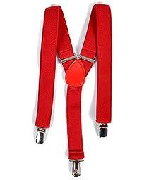 Boy\'s Solid Color Clip Suspenders (Red)