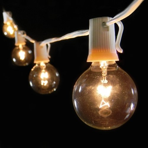 Paper Lantern Lights, 7 Clear Globes, 24 in. spacing, 14 ft. White Wire