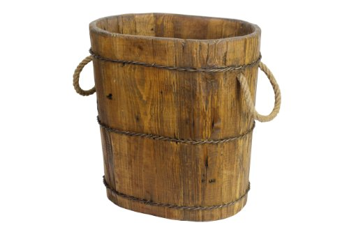 Antique Revival Altai Tapered Wooden Bucket, Natural 0