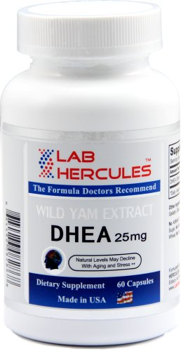 Hercules Dhea 25 Mg, Wild Yam Extract, Natural Levels May Decline With Aging And Stress 25 Mg, 60 Capsules