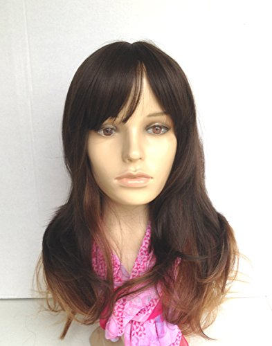 ECOSCO Ombre Dip dye Color Clip in Hair Extension 60cm Length Rose Red