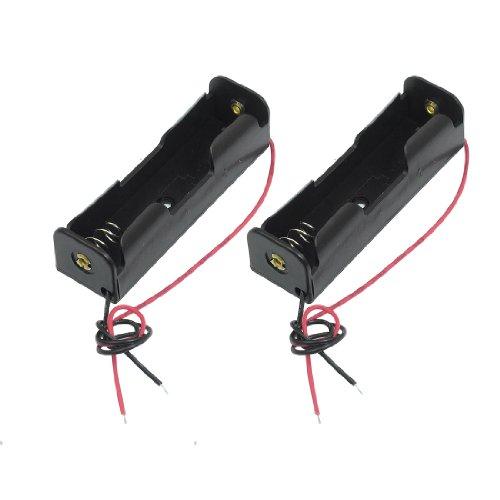 SODIAL(R)2 Pcs黒い18650 尖った先端電池バッテリーホルダーケースとワイヤーリード