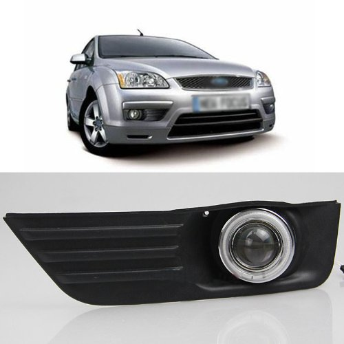 Auptech Innovative Super Ccfl Technology Angel Eye Fog Light Drl Exact-Fit Fog Bumper Cover With Projector Lens For 2005 2006 Ford Focus