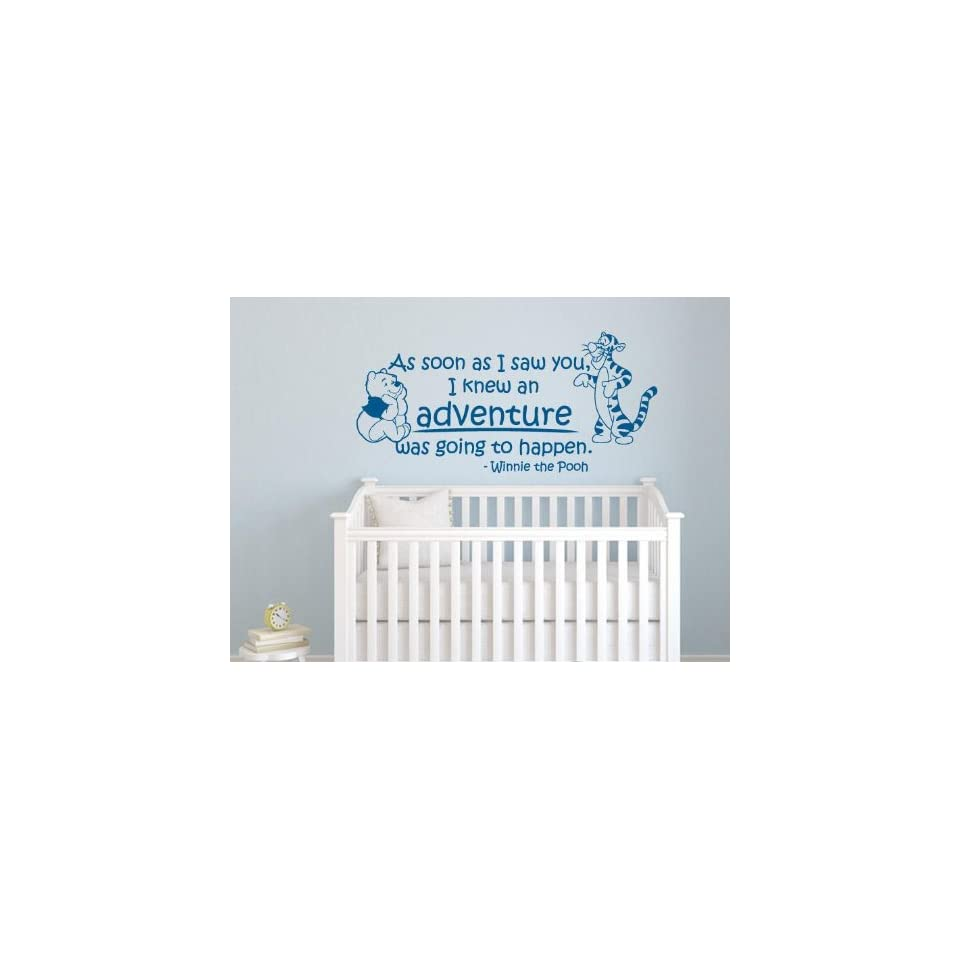 Winnie the Pooh Nursery Wall Quote Decal As Soon As I Saw You,I Knew an Adventure Was Going to Happen with Winnie & Tigger Portrait Wall Sticker Giant Baby Childrens Room Wall Art Sticker Vinyl Saying Decor Birthday Baby Shower Gift   Blue 36