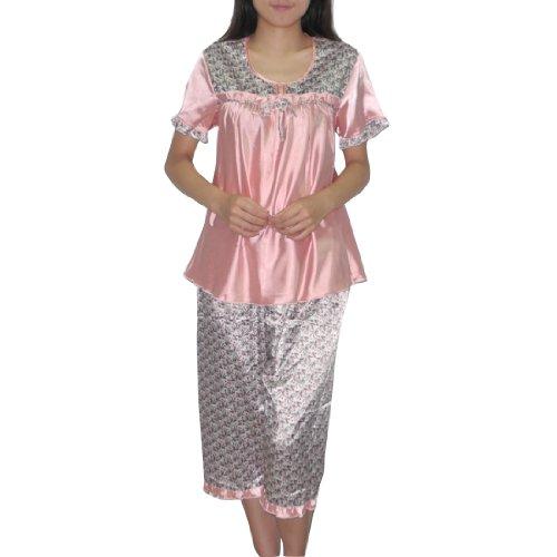 2PC SLEEPWEAR SET: SILK COUTURE Womens Gorgeous Silk Pajama / Loungewear Set: Sleep Top & Pants - Multicolor