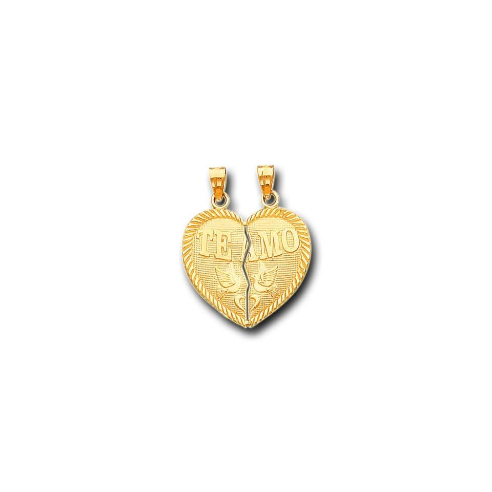 14K Solid Yellow Gold Te Amo Heart Split Charm Pendant