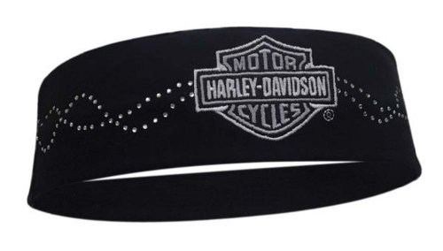 Harley-Davidson Studded Luster Bar & Shield Black Headband HP107830