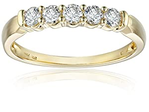14k Yellow Gold 5-Stone Diamond Anniversary Band (1/2 cttw, H-I Color, I2-I3 Clarity), Size 5