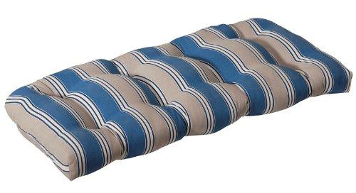 Buy Low Price CC Home Furnishings Outdoor Patio Furniture Wicker Loveseat Cushion – Blue & Tan Stripe (B004UN3GHC)