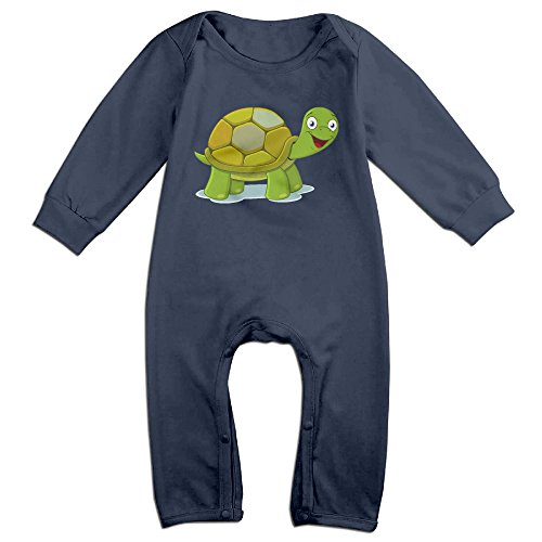 Haru Cartoon Tortoise Newborn Babys Long Sleeve Romper Bodysuit Outfits Navy 24 Months