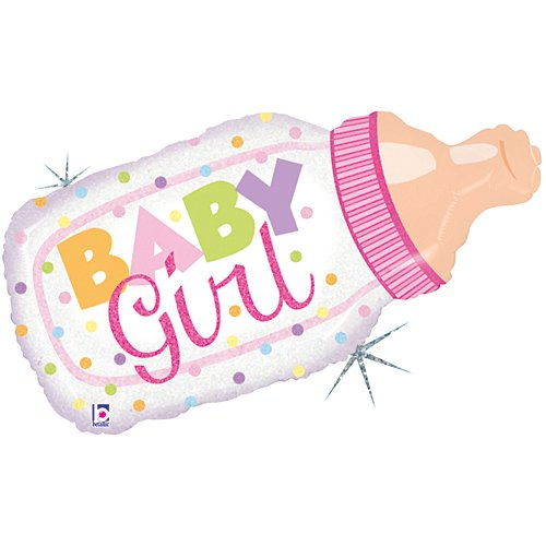Baby Girl Holographic Baby Bottle Mylar Balloon