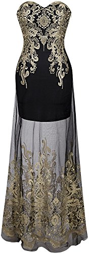 Angel-fashions Women's Sweetheart Floral Embroidery Transparent Long Cocktail Dress Small