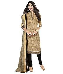 Kesar Sarees Fancy Printed Beige Cotton Dress Material