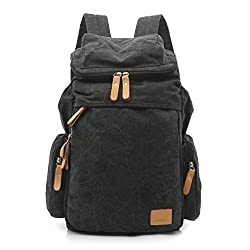SUNROLAN New Life Womens Vintage Style Cool Backpack For School Casual Laptop Daypack Rucksack Satchel College Back Packs QS1123 Black
