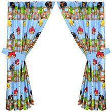 Angry Birds Window Drapes 63 Inch Curtains With Tie Backs