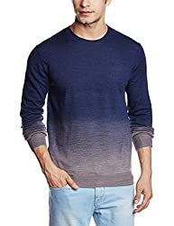 French Connection Men's Wool Sweater (886928556139_58ECO_Small_Marine Blue Alloy)