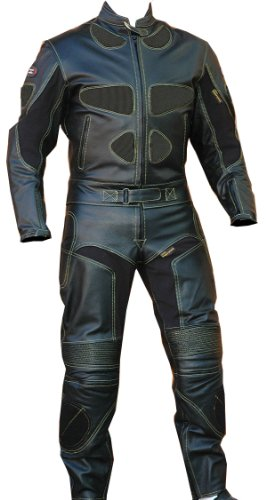 2pc Motorcycle Riding Racing Leather Track Suit w/ Padding & Armor New Black -44