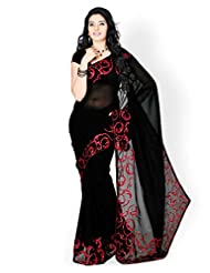Lovely Janasya Heavy Embroidery Designer Saree In Black Color