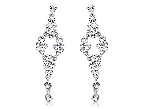 Silver Tone Metal Swarovski Crystal Elements Clear Fashion Jewelry Drop Earrings