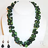 Green Raindrop Coral Necklace Set 19 inches