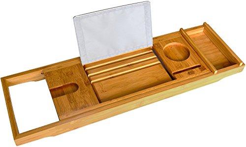 Bamboo Bathtub Caddy - Bath Book Holder - Bathroom Bathtub Tray Organizer with Rubber Grips