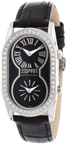 Esprit EL101192F01 - Reloj cronógrafo de cuarzo para mujer, correa de cuero color negro