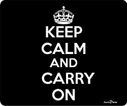 Black Keep Calm and Carry On Thick Mouse Pad