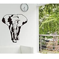 Amaonm Removable Huge Vinyl Black Africa Elephant Animal Wall Decal Animals Wall Stickers Murals Walllpaper for Classroom Kids Babys Bedroom Living Room TV Background
