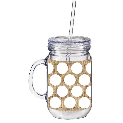 White and Burlap Polka Dot Double Walled Mason Jar Insulated Mug