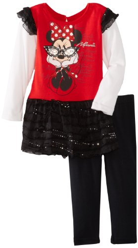 Disney Little Girls' Toddler Minnie Mouse 2 Piece Dress And Pant, Red, 2T front-90733