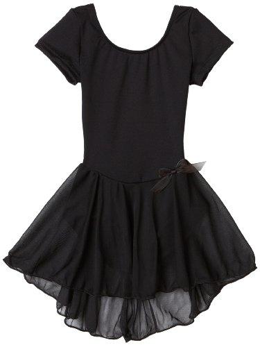 Capezio Little Girls' Short Sleeve Nylon Dress,Black,T (2-4) front-905262